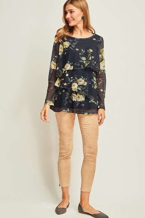 Floral Mesh Layered Top - HeartsEase Clothing