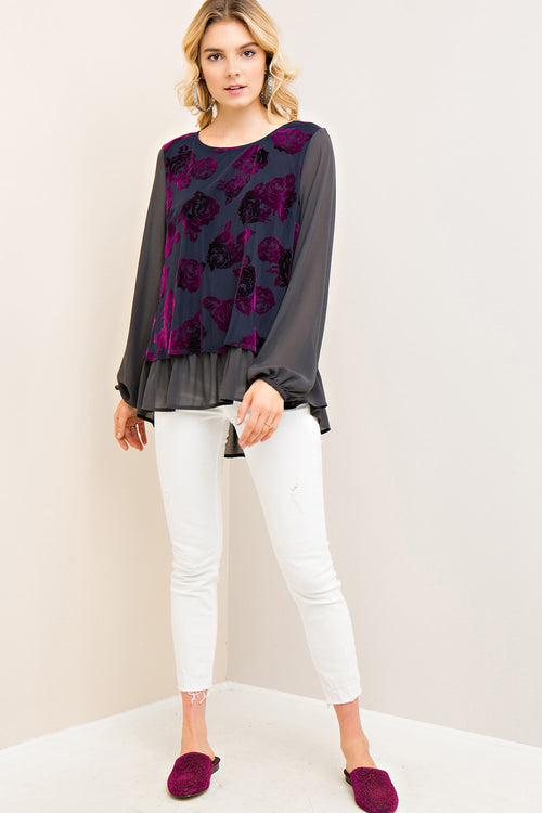 Floral Burnout Velvet Top - Charcoal - HeartsEase Clothing