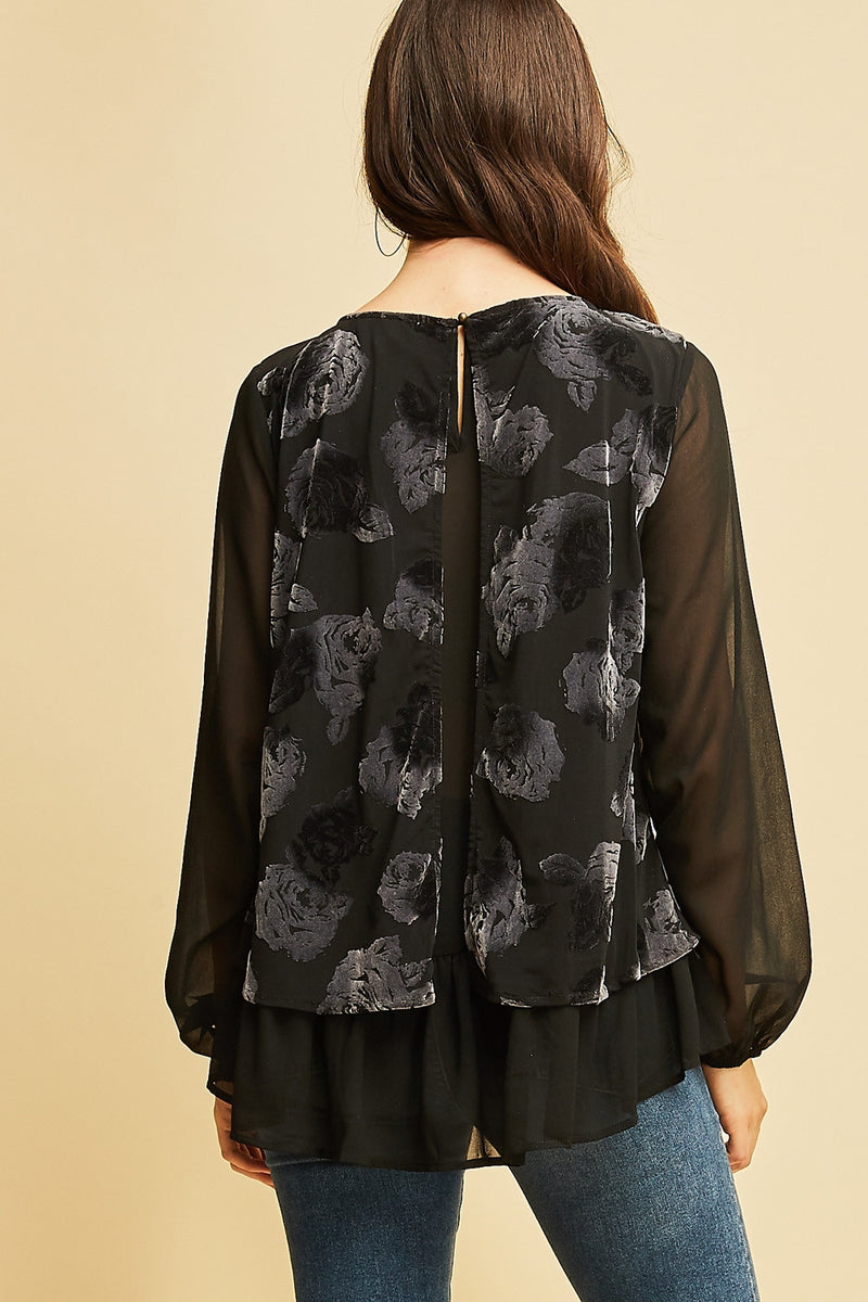 Floral Burnout Velvet Top - Black - HeartsEase Clothing