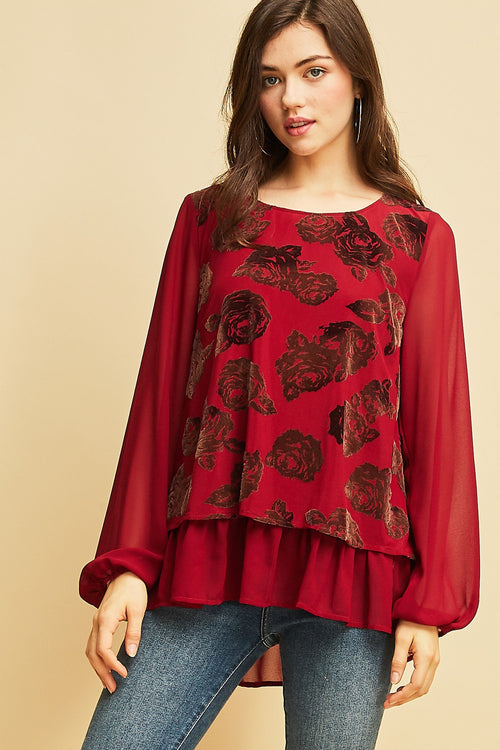 Floral Burnout Velvet Top - Burgundy - HeartsEase Clothing