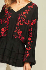 Peasant Top with Floral Embroidery - Black - HeartsEase Clothing