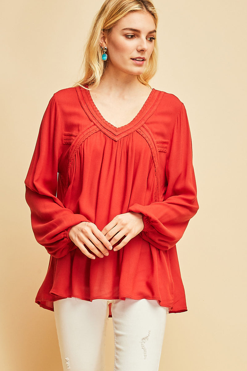 Peasant Top With Crochet Details - HeartsEase Clothing