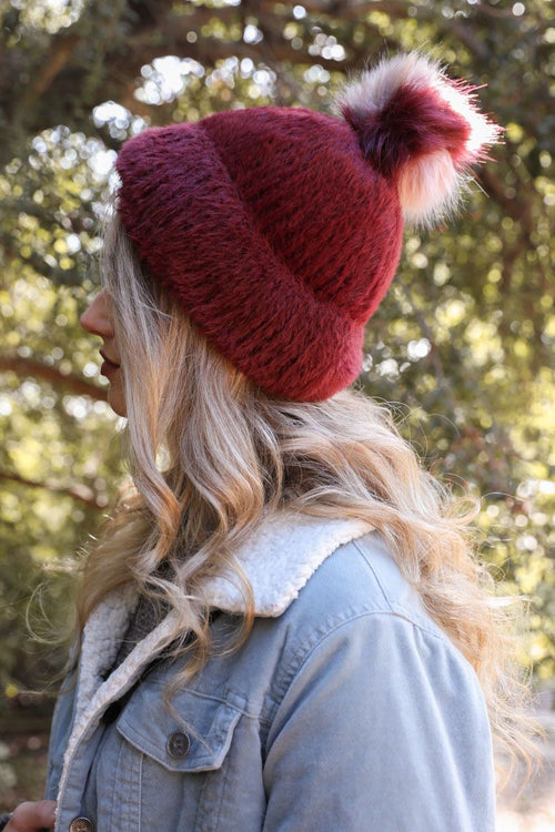 Faux Mohair Beanie - Burgundy - HeartsEase Clothing