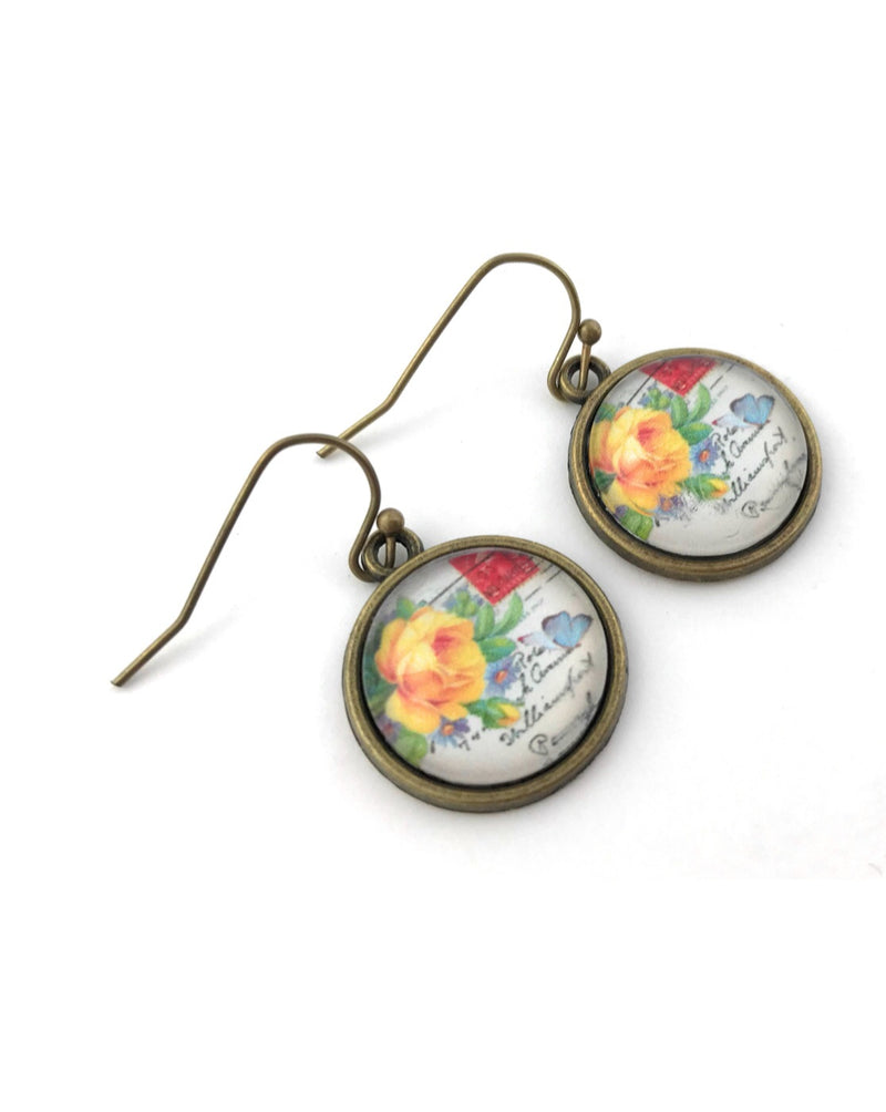 Orange Rose Earrings - HeartsEase Clothing