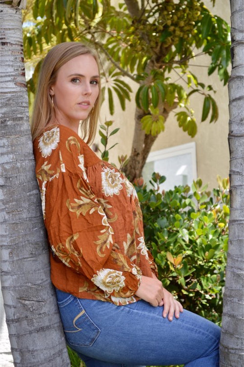 Billowing Sleeve Blouse - Brown Multi - HeartsEase Clothing