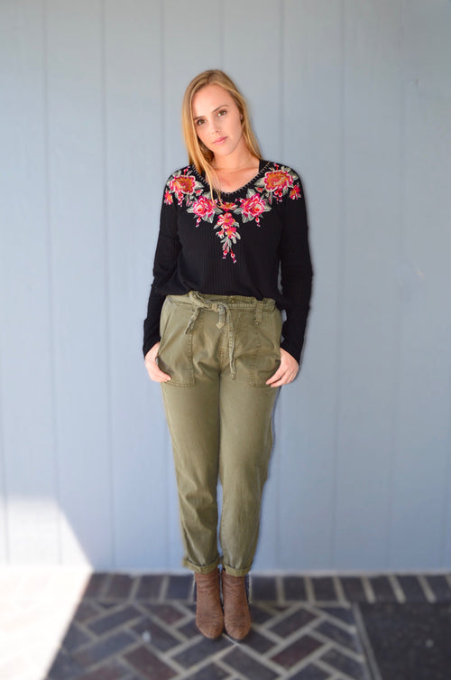 TWO LEFT Embroidered Waffle Knit Top - HeartsEase Clothing