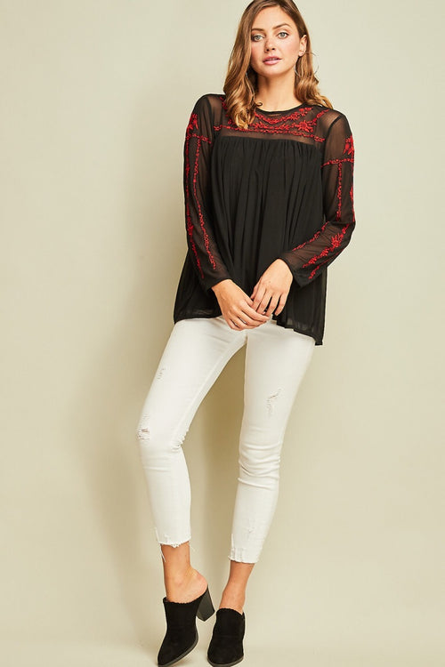 Mesh Top With Embroidery Details - HeartsEase Clothing