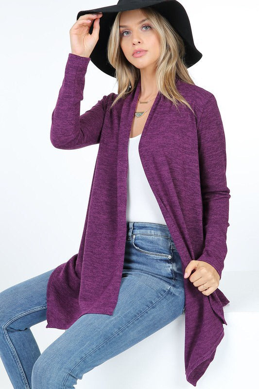 Hacci Angular Hem Cardi - Eggplant - HeartsEase Clothing