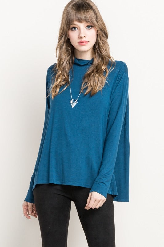 Rouen - Bamboo Mock Neck Top - Teal - HeartsEase Clothing