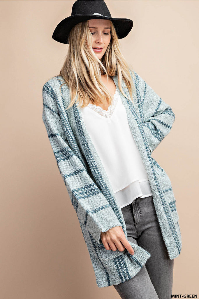 Rhea - Vertical Striped Cardigan