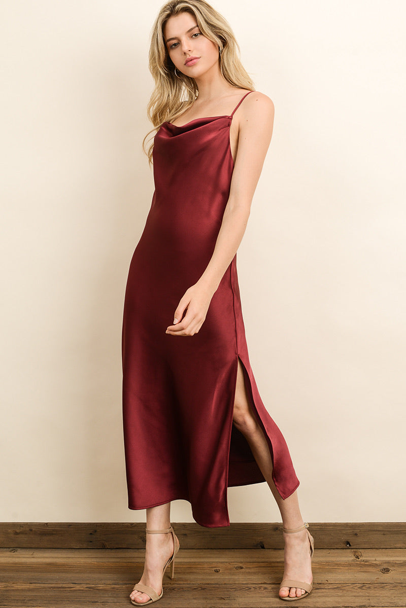 Satin Cowl Neck Midi Dress - HeartsEase Clothing