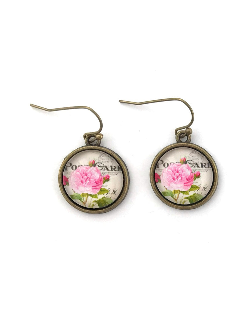 Pink Rose Earrings - HeartsEase Clothing
