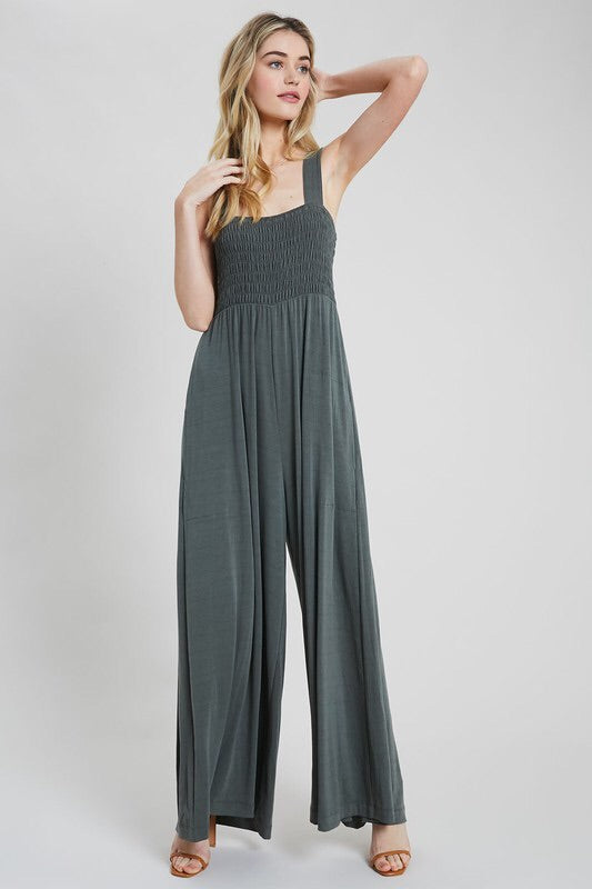 Smocked Wide Leg Jumpsuit - HeartsEase Clothing