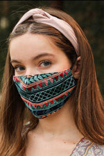 Aqua Geometric Embroidered Fashion Face Mask - HeartsEase Clothing