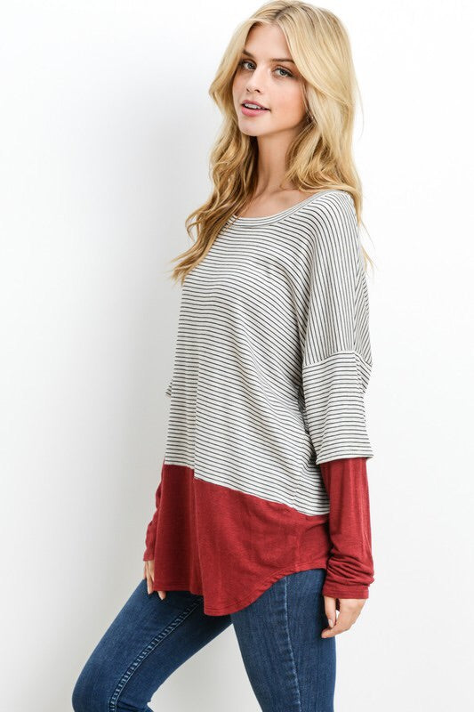 ONE LEFT Solid Layering Pinstripe Top - HeartsEase Clothing
