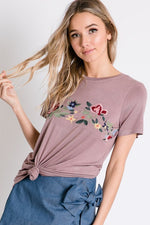 Embroidered Scoop Neck Tee - Mauve - HeartsEase Clothing
