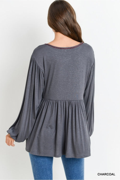 Embroidered Bubble Sleeve Top - HeartsEase Clothing