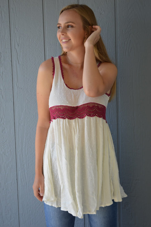 Polka Dot Dress - Ivory/Burgundy - HeartsEase Clothing