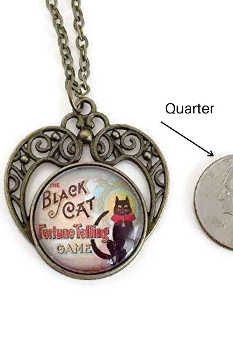 Black Cat Fortune Teller Necklace - HeartsEase Clothing