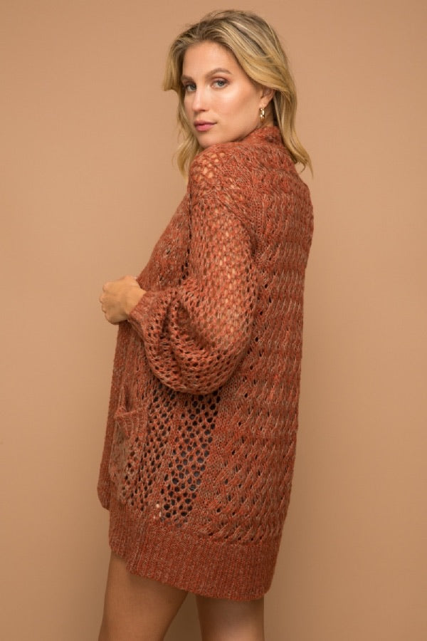 Marsala - Two-Tone Open Stitch Cardigan