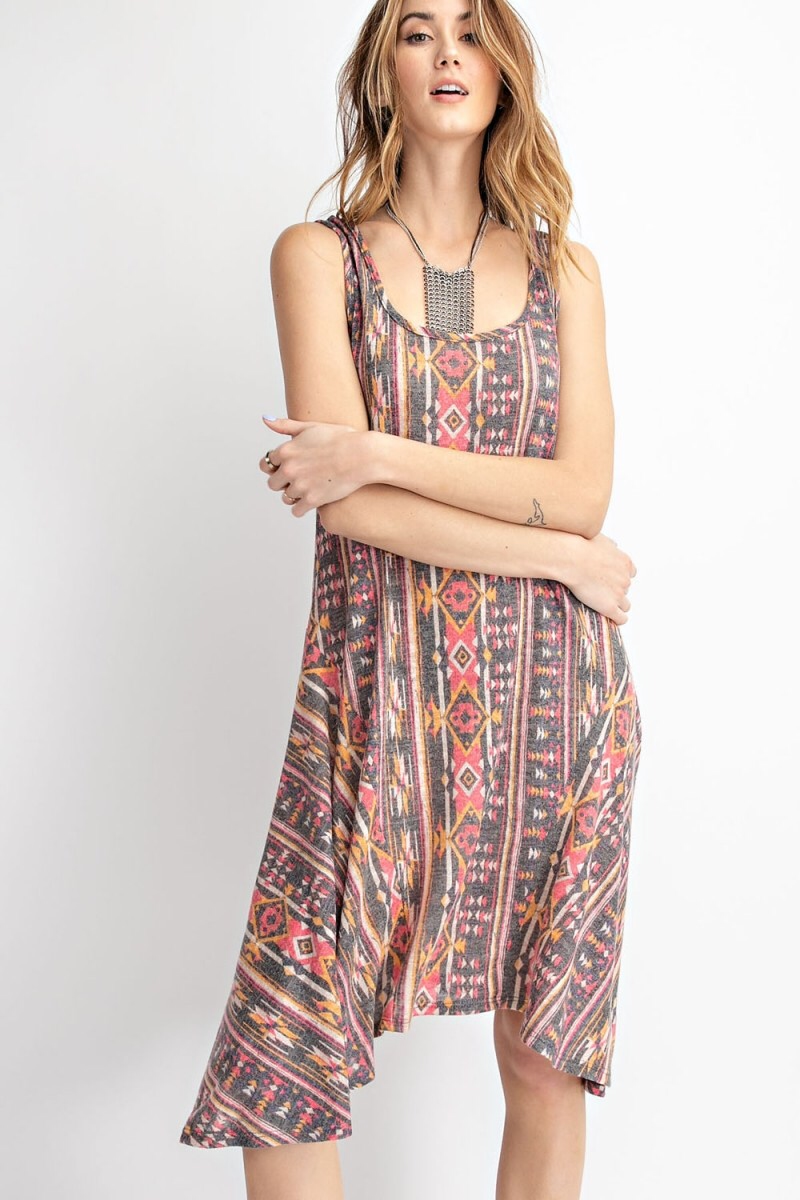 Tribal Print Sharkbite Dress - HeartsEase Clothing