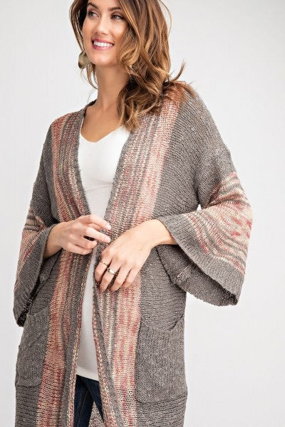 Wide Sleeve Boho Sweater - Ash - HeartsEase Clothing