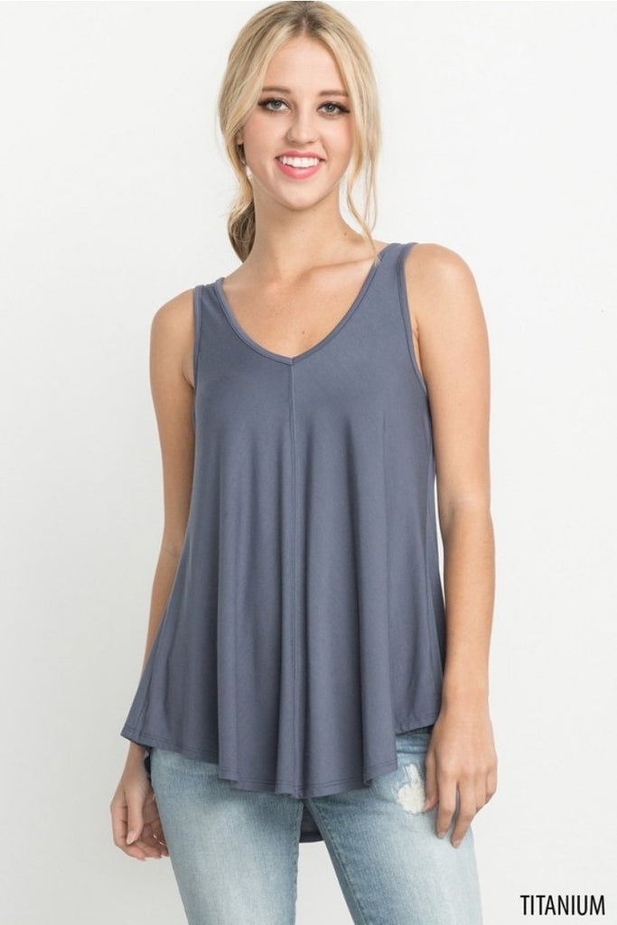 Logan - Bamboo V-Neck Tank in Titanium