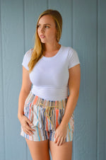 Linen Striped Shorts - HeartsEase Clothing