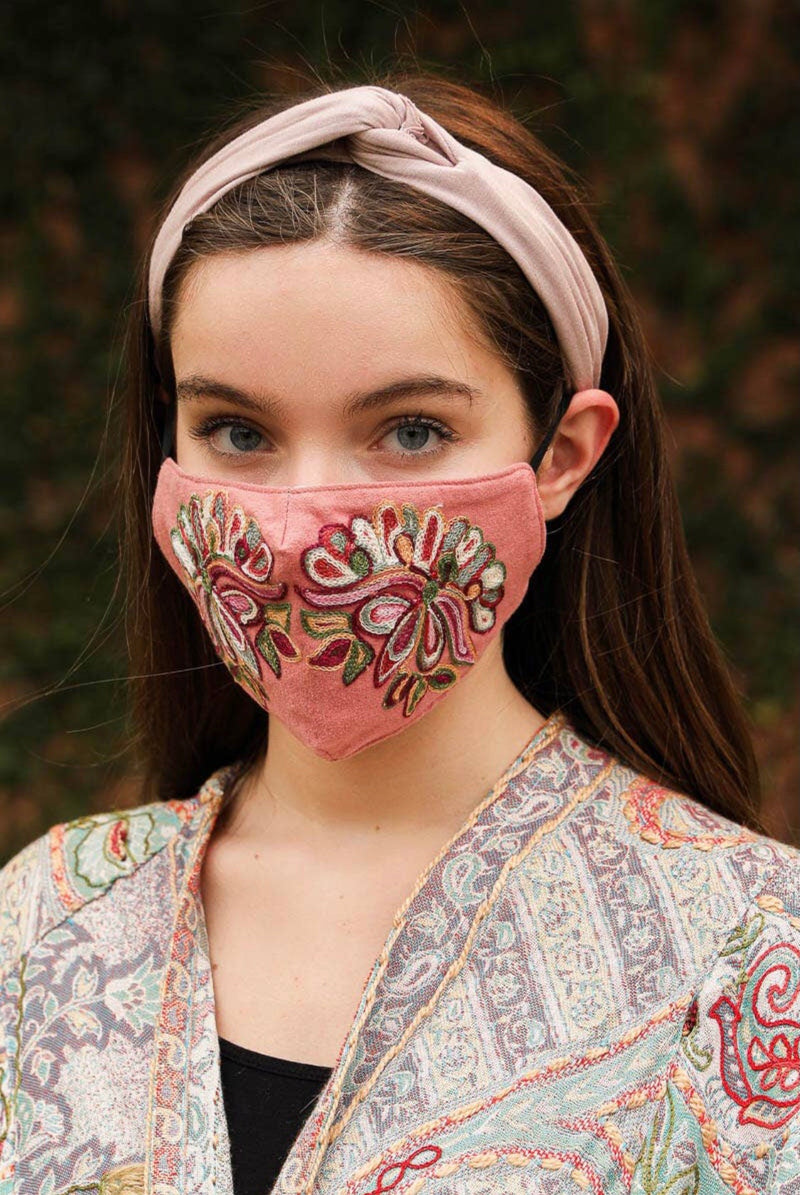 Pink Suede Embroidered Fashion Face Mask - HeartsEase Clothing