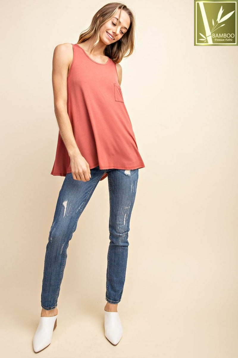 Bamboo Basic Pocket Tank - Marsala - HeartsEase Clothing