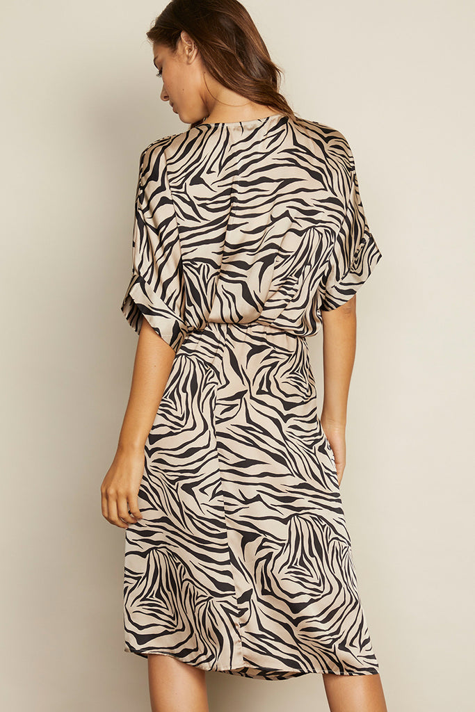 Celeste - Zebra Faux Wrap Dress