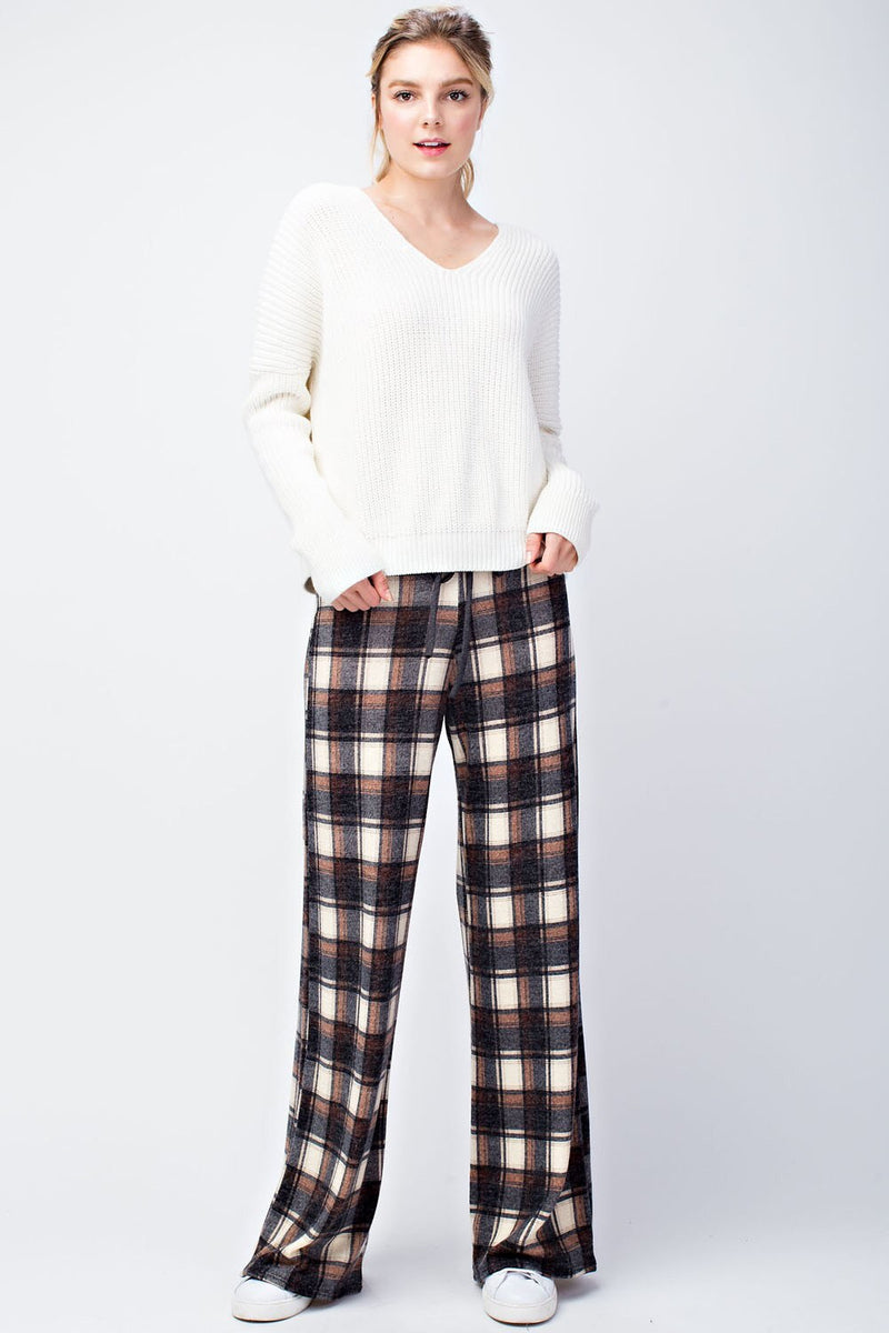 Miru Plaid Wide Leg Pants - HeartsEase Clothing