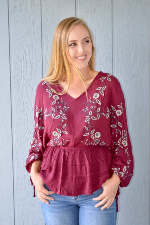 Peasant Top with Floral Embroidery - Merlot - HeartsEase Clothing