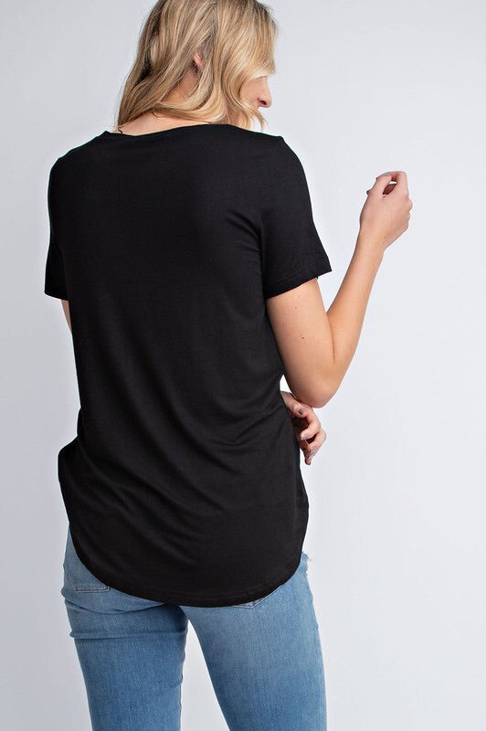 Embroidered Scoop Neck Tee - Black - HeartsEase Clothing