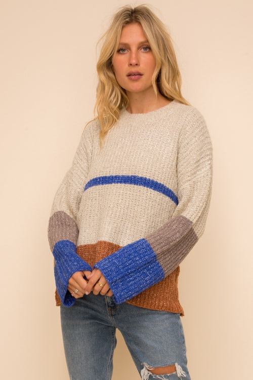 Color Blocked Pullover Sweater - HeartsEase Clothing