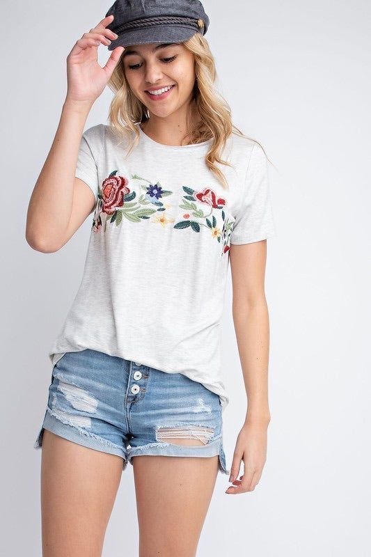 Embroidered Scoop Neck Tee - Oatmeal - HeartsEase Clothing