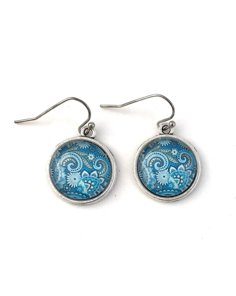 Blue Paisley Dangle Earrings - HeartsEase Clothing