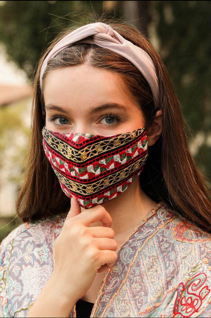 Graphic Embroidered Fashion Face Mask - HeartsEase Clothing