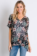 ONE LEFT Romantic Rose Dolman Top - Black - HeartsEase Clothing