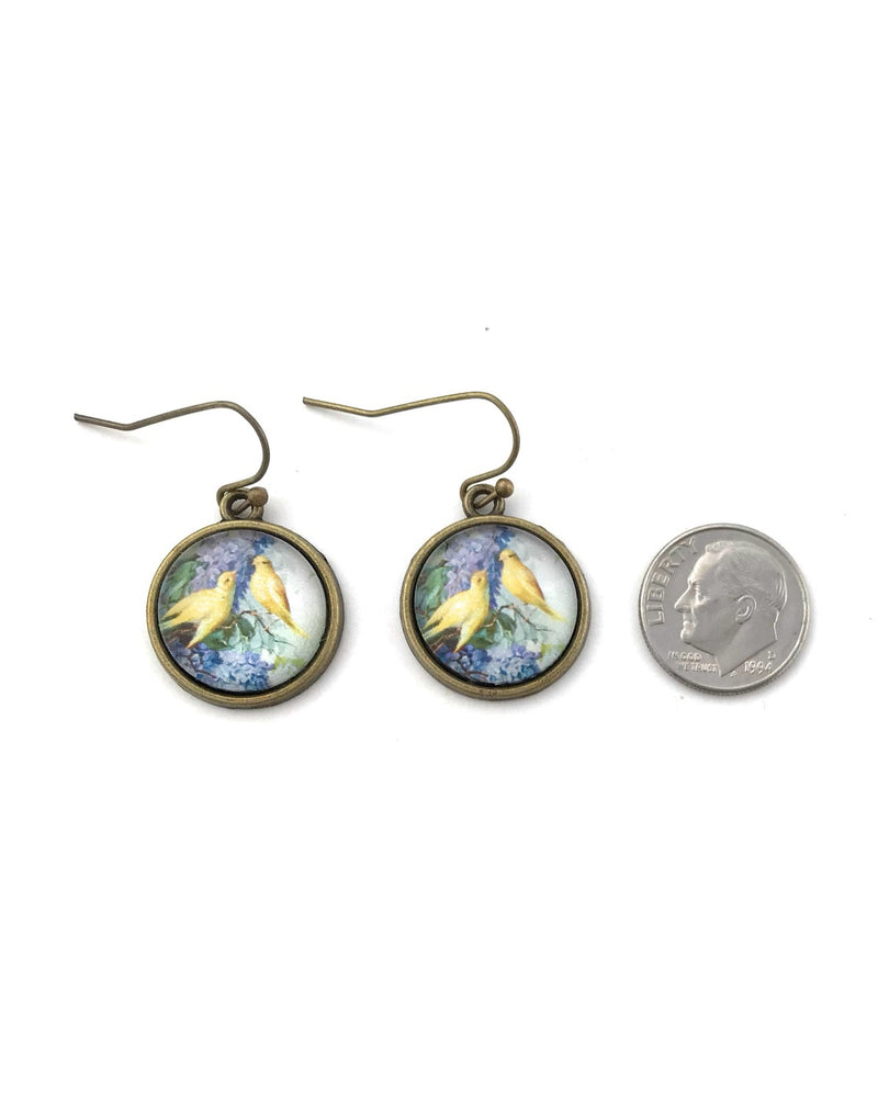 Lilac and Canary Dangle Earrings - HeartsEase Clothing