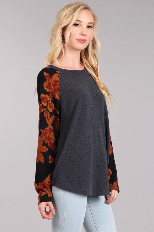 Fall Floral Baseball Sweater - Charcoal Rust - HeartsEase Clothing