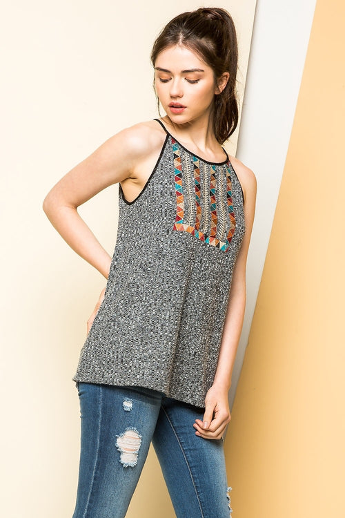 Embroidered Rib Knit Tank - HeartsEase Clothing