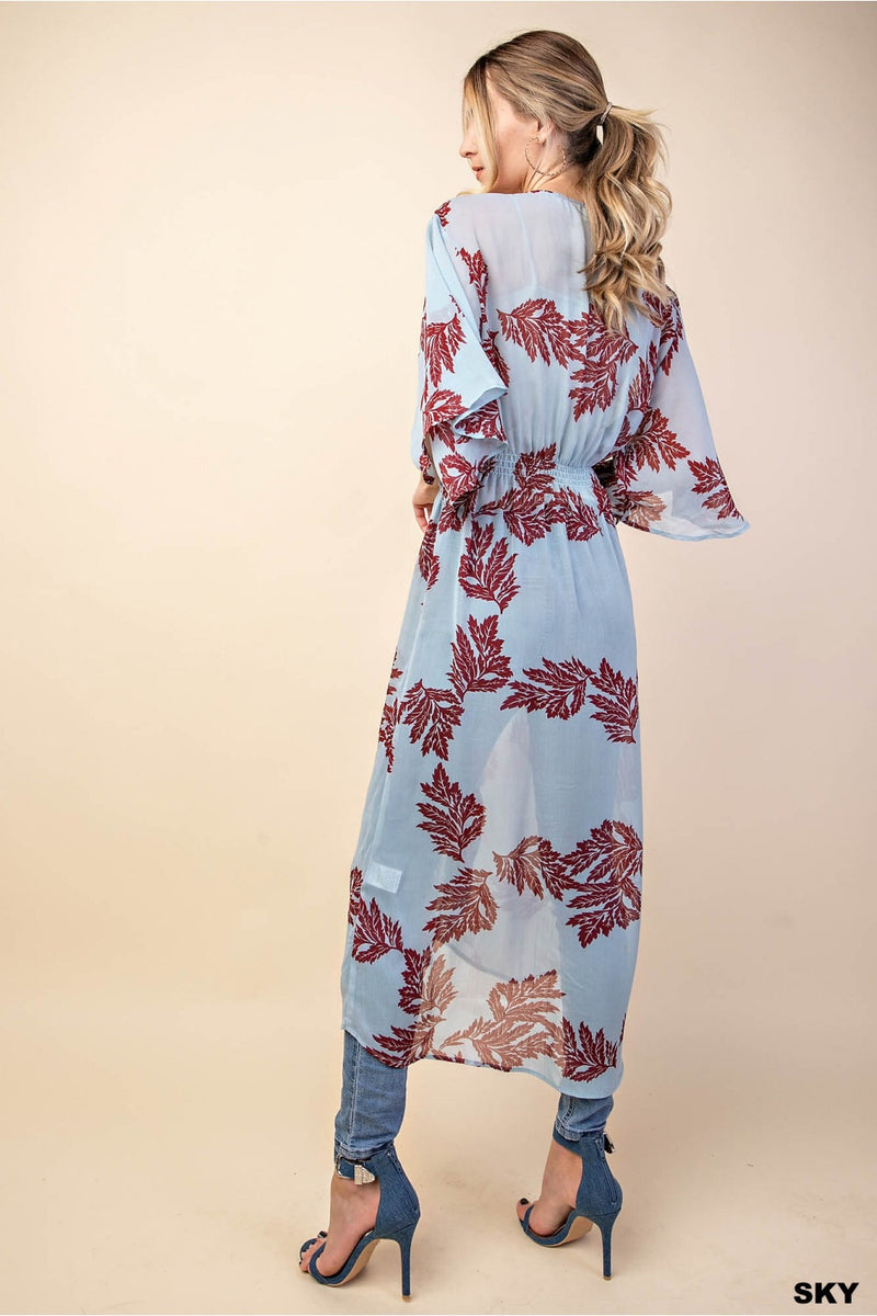 Chiffon Leaves Printed Kimono - HeartsEase Clothing