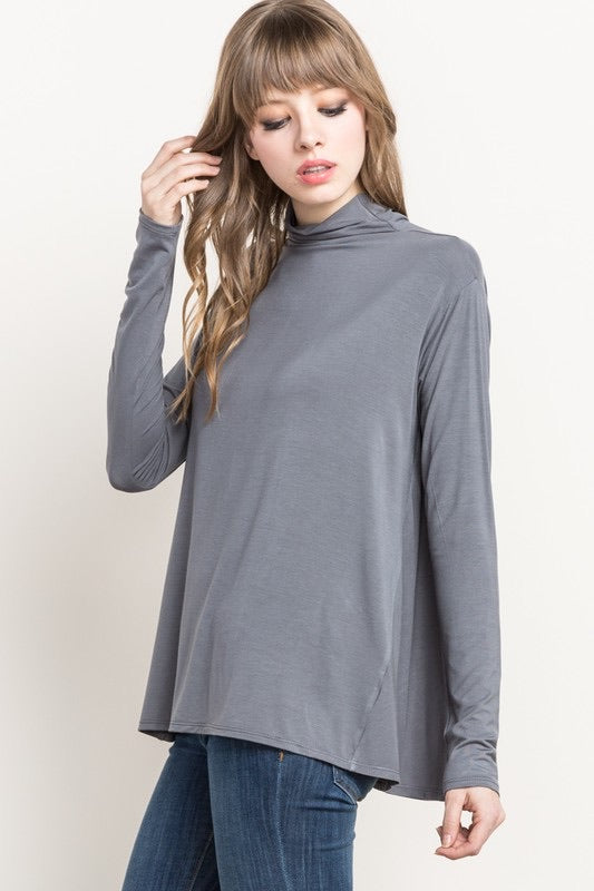 Rouen - Bamboo Mock Neck Top - Ash Grey