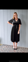 Velvet Flutter Sleeve Midi Dress - HeartsEase Clothing
