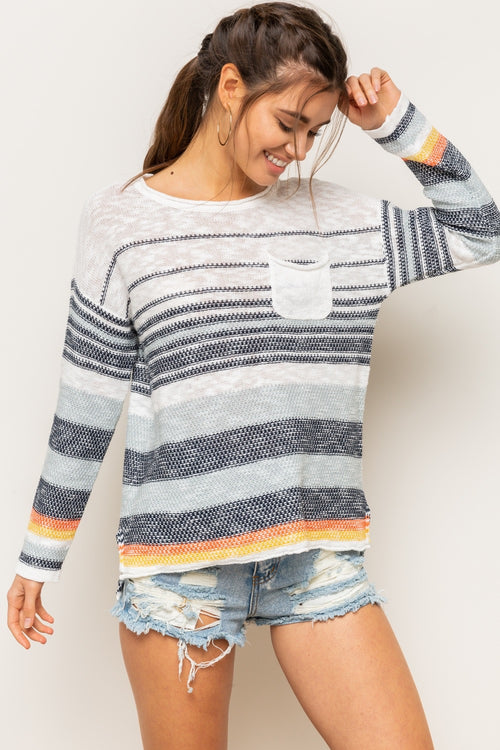 Striped Pullover Sweater - HeartsEase Clothing