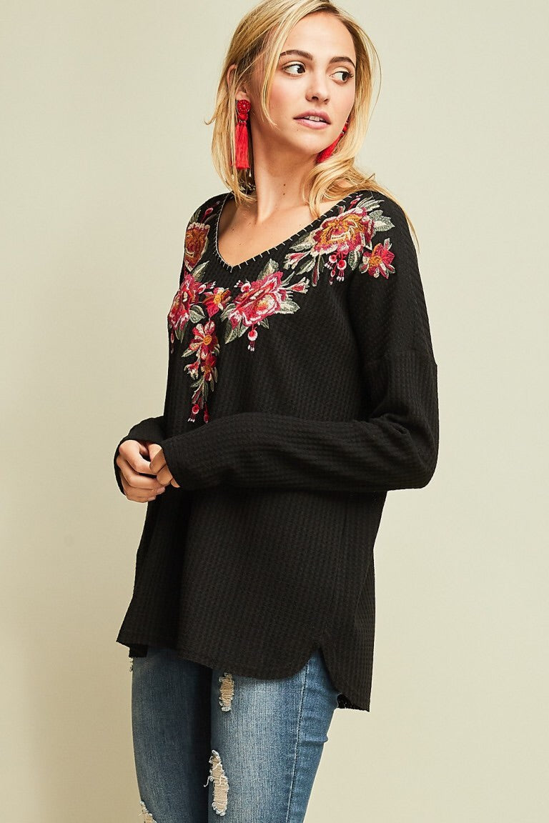 Embroidered Waffle Knit Top - HeartsEase Clothing