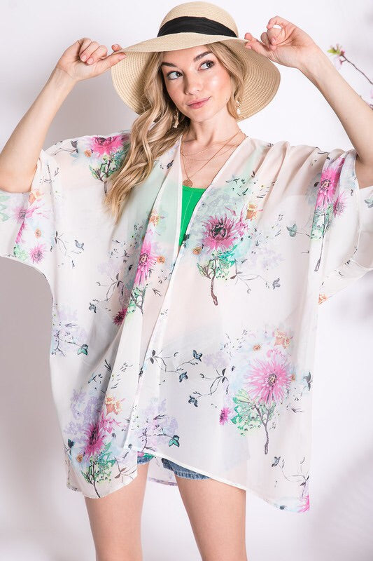 Floral Printed Kimono Cardigan - HeartsEase Clothing