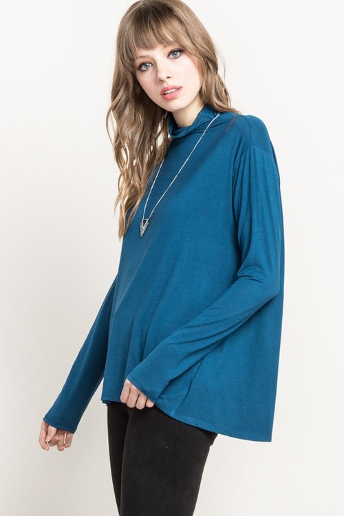Bamboo Mock Neck Top - Teal - HeartsEase Clothing