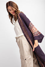 Wide Sleeve Boho Sweater - Purple - HeartsEase Clothing